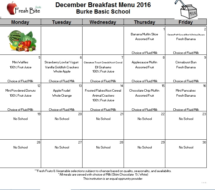 December Breakfast and Lunch Menus | Burke Basic School