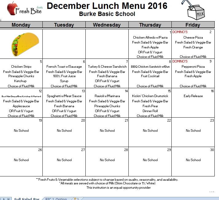 december breakfast and lunch menus  u2013 burke basic school