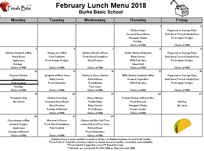 february 2018 breakfast and lunch menus  u2013 burke basic school